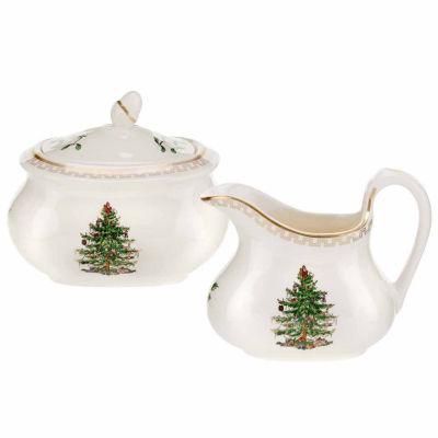 Spode Christmas Tree Sugar + Creamer Set