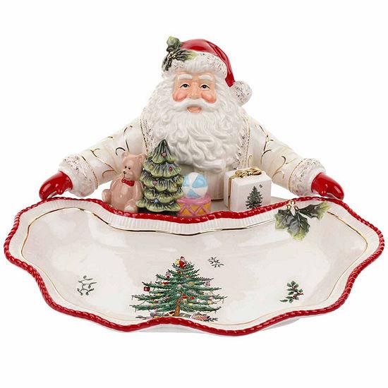 Spode Christmas Tree Santa Dish Serving Bowl