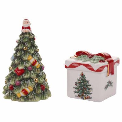 Spode Christmas Tree Salt + Pepper Shakers