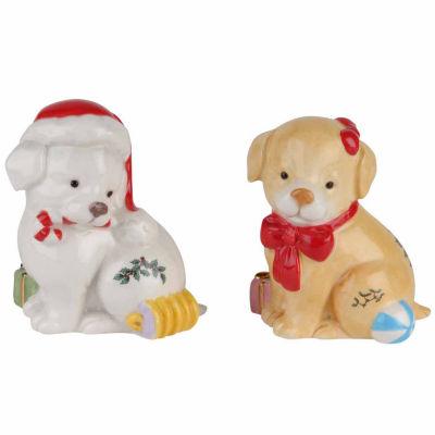 Spode Christmas Tree Puppy Salt + Pepper Shakers