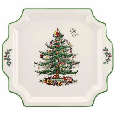 Spode Christmas Tree Square Handled Serving Platter