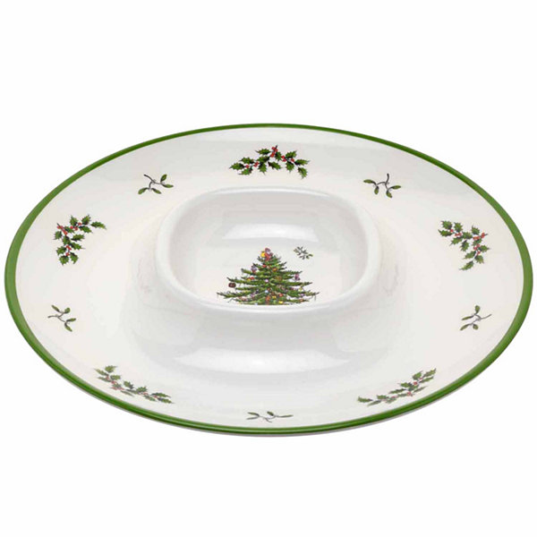 Spode Christmas Tree Chip + Dip Set