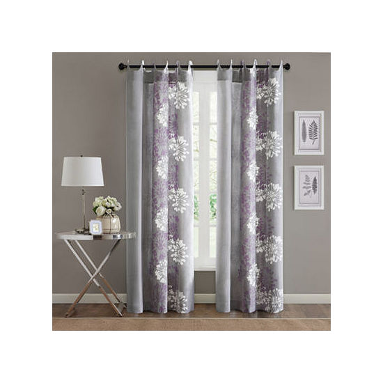 Madison Park Adria Floral Grommet-Top Curtain Panel