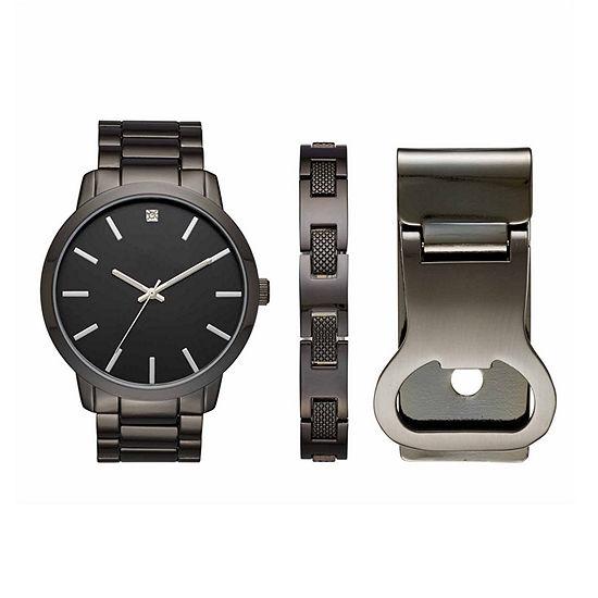 Mixit Mens Black 3 Pc Watch Boxed Set Fmdjset525