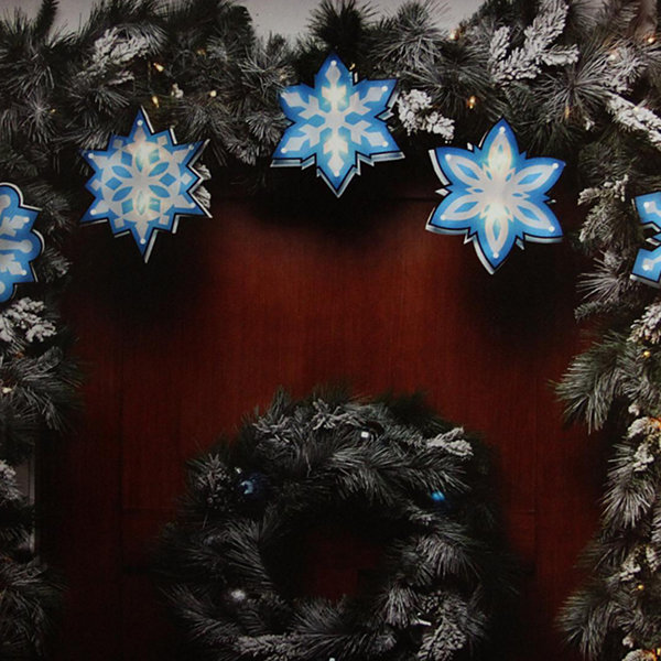7\' Blue and White Shimmering Snowflake Christmas Light Garland ...