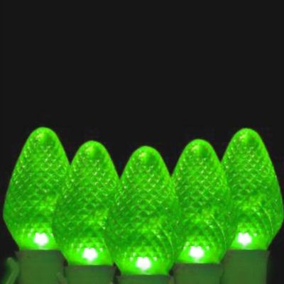"""Set of 50 Green Faceted LED C7 Christmas Lights 5""""Spacing - Green Wire"""""""