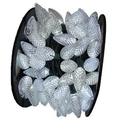 "100 Commercial Length Pure White LED Faceted C9 Christmas Lights on Spool 5"" Spacing - Green Wire"""