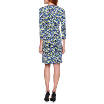 Black Label by Evan-Picone 3/4 Sleeve Confetti Print Faux-Wrap Dress