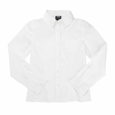 French Toast Long Sleeve Oxford Blouse with Darts - Big Kid Girls