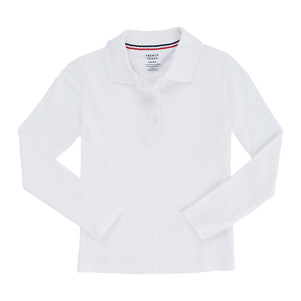 French Toast Long Sleeve Interlock Polo with Picot Collar - Big Kid Girls Plus