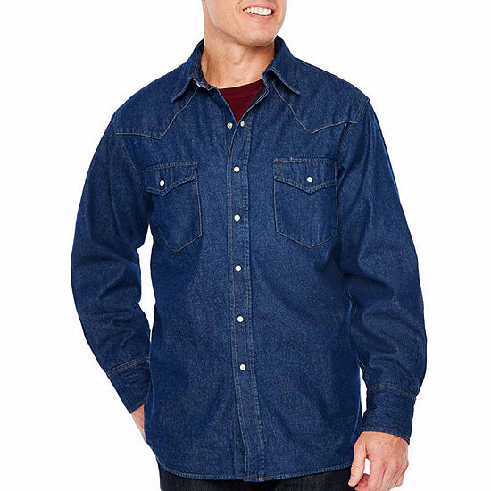 Ely Cattleman Flannel Lined Denim Snap Front Shirt Big And Tall