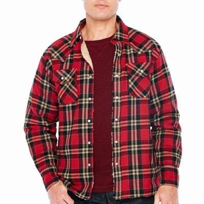 Ely Cattleman Sherpa Lined Brawny Plaid Snap-Front Shirt