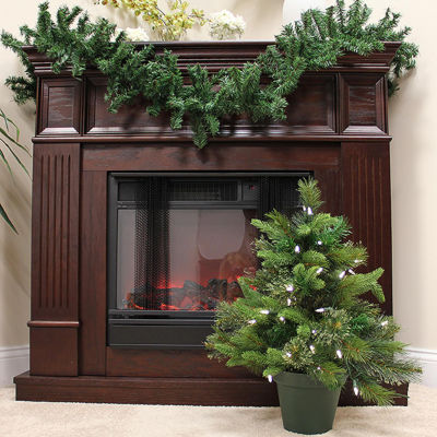 2' Pre-Lit Mixed Pine Cashmere Potted Artificial Christmas Tree - Clear LED