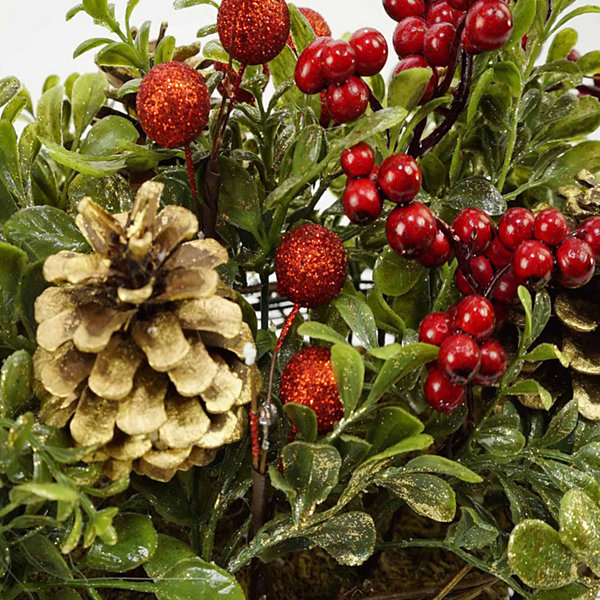 "12"" Pine Cones Berries and Boxwood in Twig Basket Christmas Tabletop Decoration"""