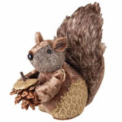 "6"" Country Cabin Decorative Faux Fur Trim Squirrel with Pine Cone Christmas Tabletop Figurene"""