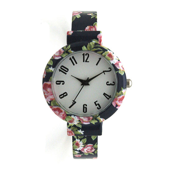 Olivia Pratt Floral Womens Blue Strap Watch-H10053navy