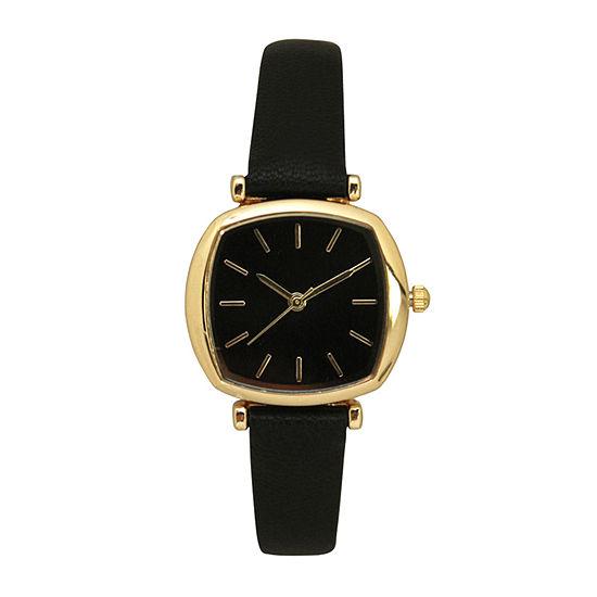 Olivia Pratt Womens Black Leather Strap Watch-D27069black