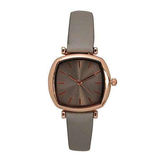 Olivia Pratt Womens Gray Leather Strap Watch-D27069greyrose