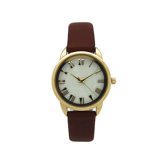 Olivia Pratt Womens Brown Leather Strap Watch-17385cognac