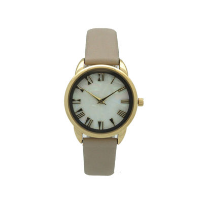 Olivia Pratt Womens Brown Strap Watch-17385beige