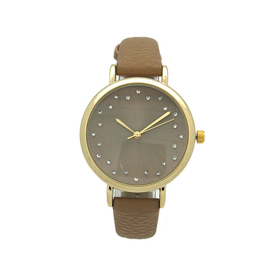 Olivia Pratt Womens Black Leather Strap Watch-A916284beige
