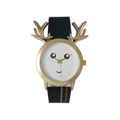 Olivia Pratt Reindeer Womens Blue Strap Watch-515110navy