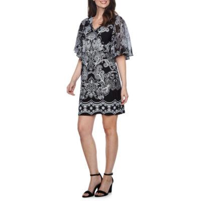 MSK Short Sleeve Scroll Shift Dress
