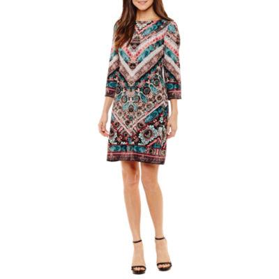 London Style 3/4 Sleeve Chevron Sheath Dress-Petites