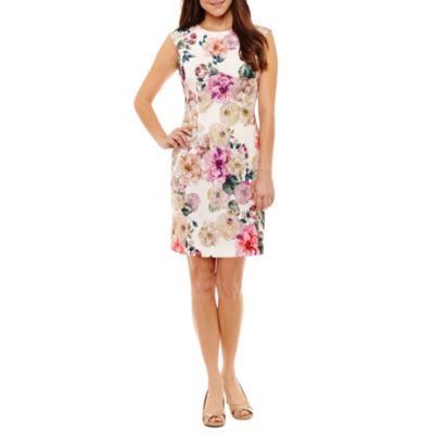 R & K Originals Short Sleeve Floral Sheath Dress-Petites