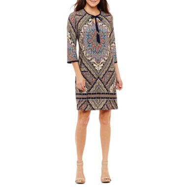 Studio 1 3/4 Sleeve Jacquard Sheath Dress-Petites