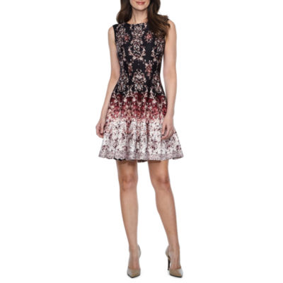 Danny & Nicole Sleeveless Scroll Fit & Flare Dress-Petites