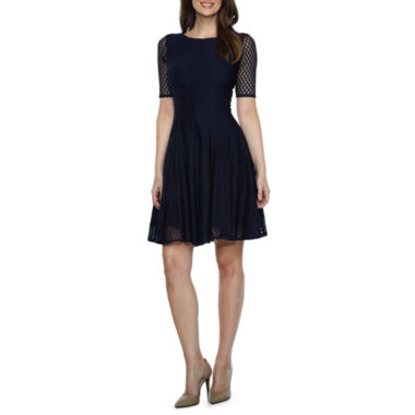 Danny & Nicole Elbow Sleeve Circles Fit & Flare Dress-Petites