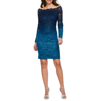 Blu Sage Long Sleeve Floral Sheath Dress