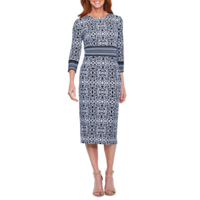 Liz Claiborne 3/4 Sleeve Scroll Sheath Dress