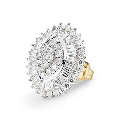 4 CT. T.W. Diamond 10K Two-Tone Gold Marquise Ring