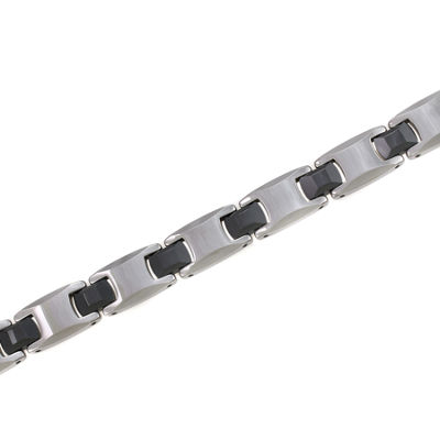 Mens Tungsten & Black Ceramic Link Bracelet