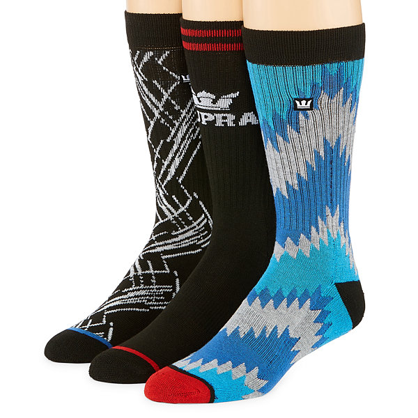 Aztec Print 3 Pair Graphic Crew Socks - Boys
