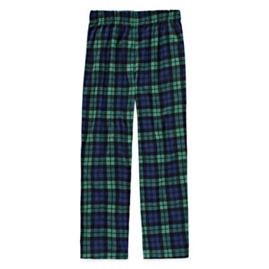 Green Plaid Print Fleece Pajama Pant - Boys 4-20