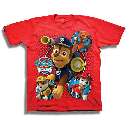 Boys Short Sleeve Tees Boys Crew Neck Short Sleeve Paw Patrol Graphic T-Shirt - Preschool