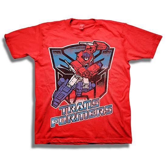 Transformers Short Sleeve Tees - Big Kid Boys Crew Neck Transformers Short Sleeve Graphic T-Shirt