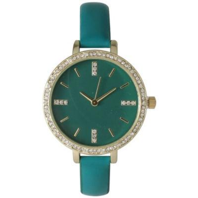 Olivia Pratt Womens Green Strap Watch-15321green