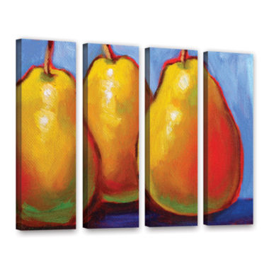Brushstone Gang of Pears 4-pc. Gallery Wrapped Canvas Set
