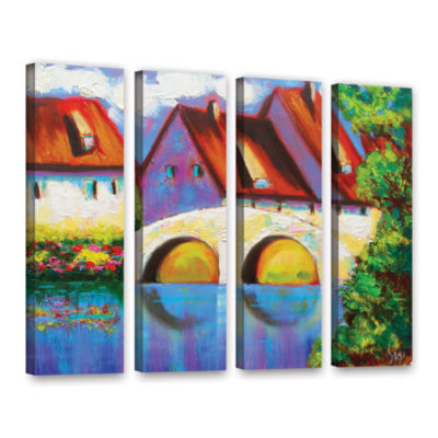 Brushstone German Village On Rhine 4-pc. Gallery Wrapped Canvas Wall Art