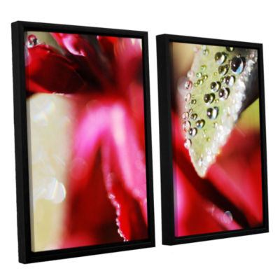 Brushstone Raindrops Hovering Over Red 2-pc. Floater Framed Canvas Wall Art