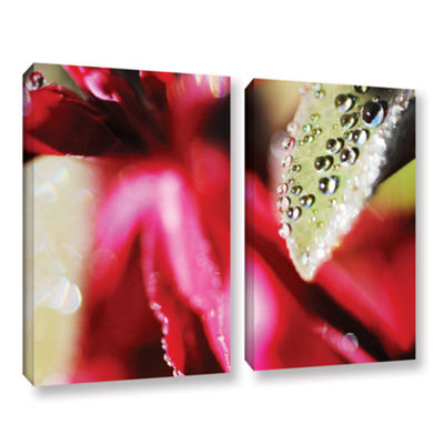 Brushstone Raindrops Hovering Over Red 2-pc. Gallery Wrapped Canvas Wall Art