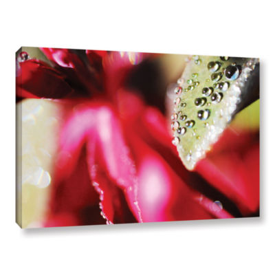 Brushstone Raindrops Hovering Over Red Gallery Wrapped Canvas Wall Art