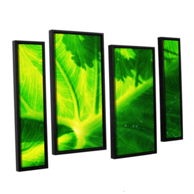 Brushstone Green On Green 4-pc. Floater Framed Staggered Canvas Wall Art
