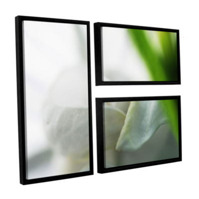 Brushstone White Petal 3-pc. Flag Floater Framed Canvas Wall Art