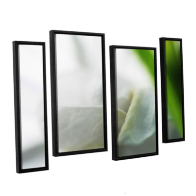 Brushstone White Petal 4-pc. Floater Framed Staggered Canvas Wall Art