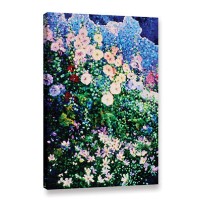 Brushstone Hollyhocks And Cosmos Gallery Wrapped Canvas Wall Art